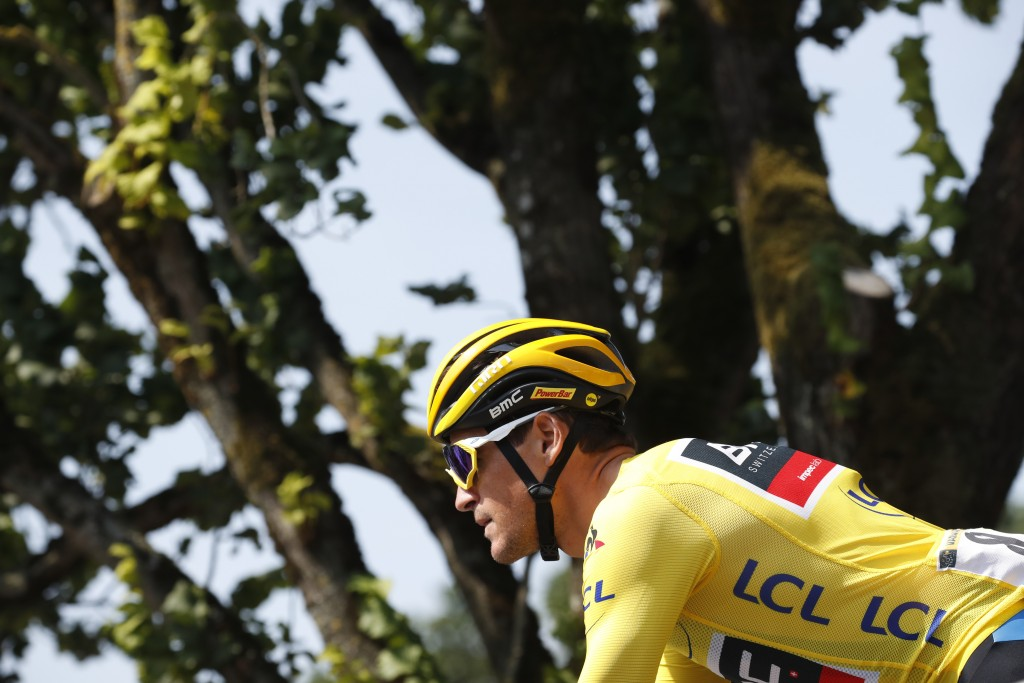 Belgium's Greg van Avermaet, wearing the overall leader's yellow jersey, arrives for the start of the seventh stage of the Tour de France cycling race