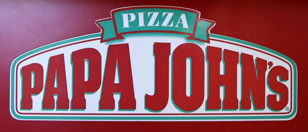 FILE- This Dec. 21, 2017, file photo shows the logo of Papa John's is displayed at a pizza store in Quincy, Mass. Papa John's plans to pull founder Jo