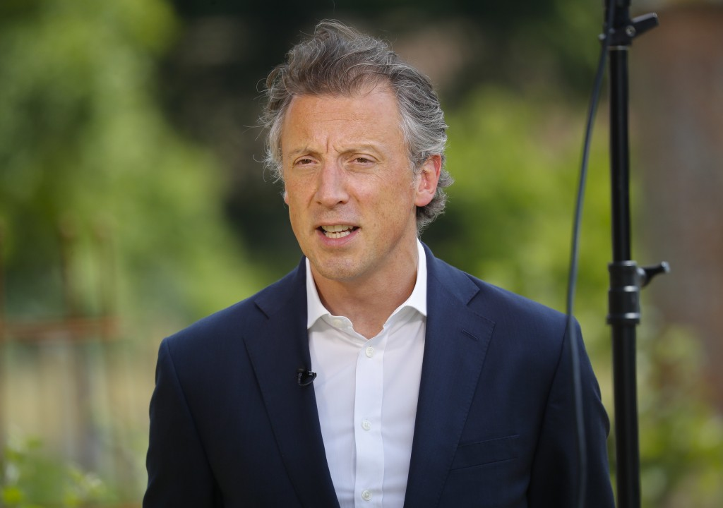 Tom Newton Dunn, Political Editor of the Sun Newspaper, is seen speaking to Fox Television News network at Chequers, in Buckinghamshire, England, Frid