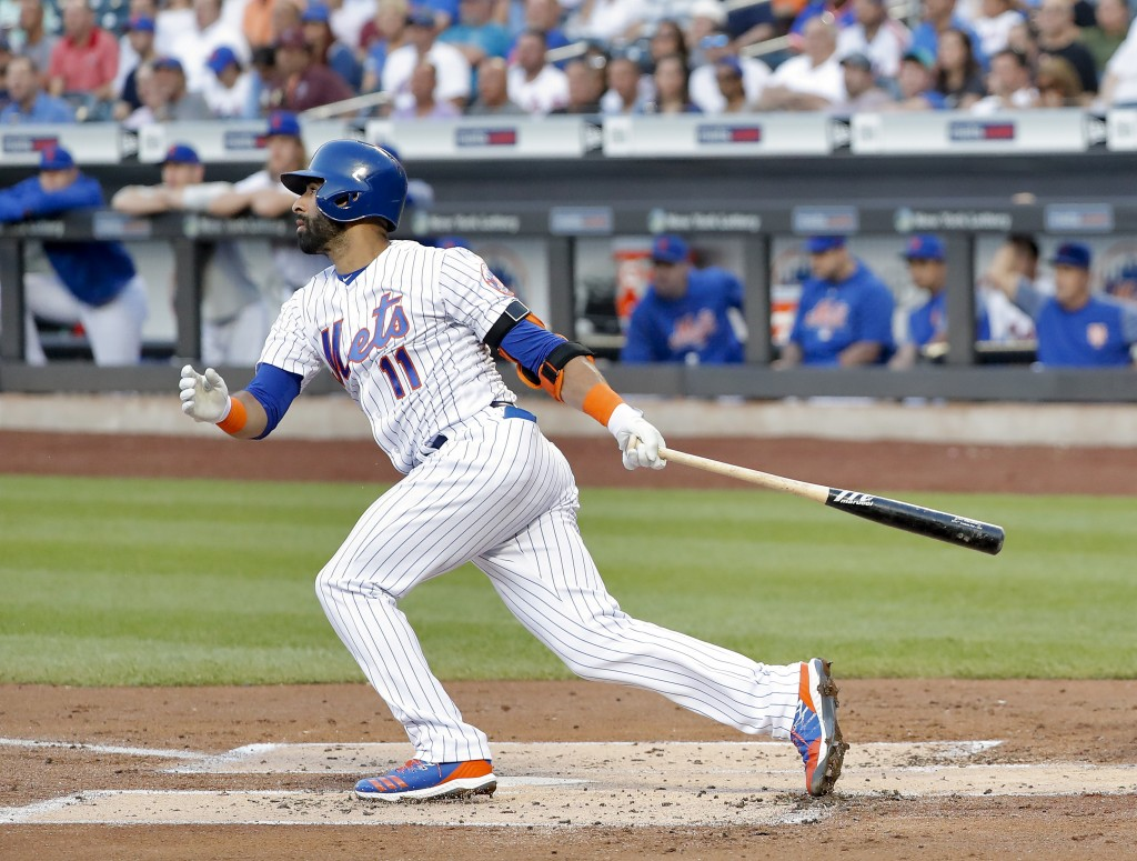 New York Mets' Jose Bautista watches his RBI single against the Washington Nationals during the first inning of a baseball game Thursday, July 12, 201