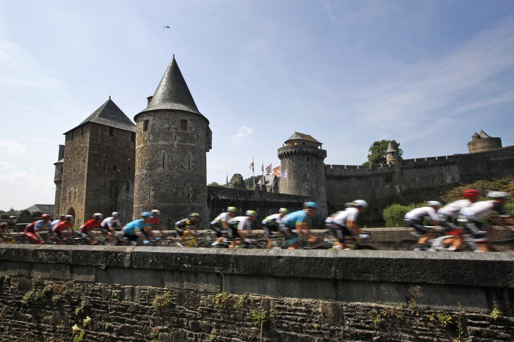 The pack leaves Fougeres, rear, during the seventh stage of the Tour de France cycling race over 231 kilometers (143.5 miles) with start in Fougeres a