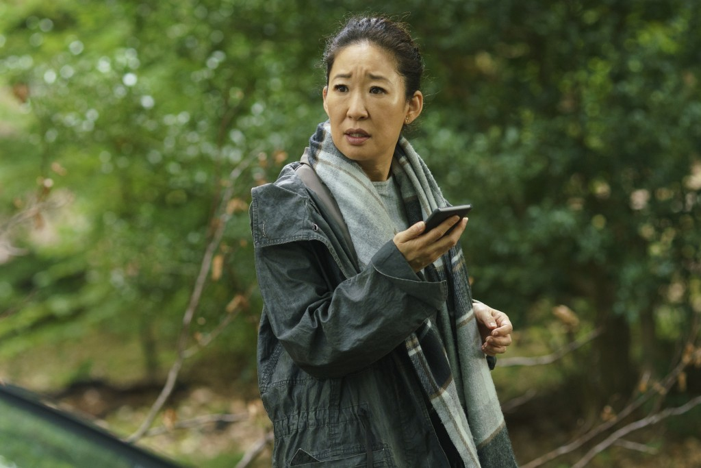 "This image released by BBC America shows Sandra Oh in a scene from ""Killing Eve."" Oh was nominated Thursday for an Emmy for outstanding lead actress i"