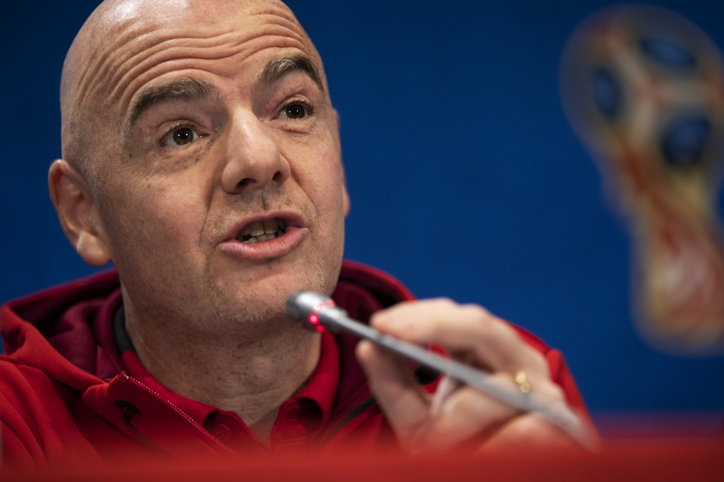 FIFA President Gianni Infantino talks to journalists during a news conference during the 2018 soccer World Cup at the Luzhniki stadium in Moscow, Russ