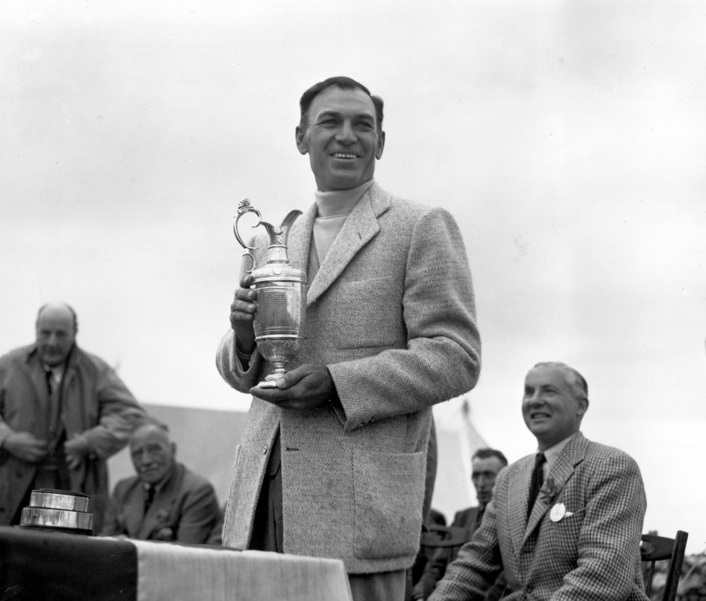 FILE - In this July 10, 1953, file photo, Ben Hogan holds his trophy after winning the British Open Golf Championship at Carnoustie, Scotland. Carnous