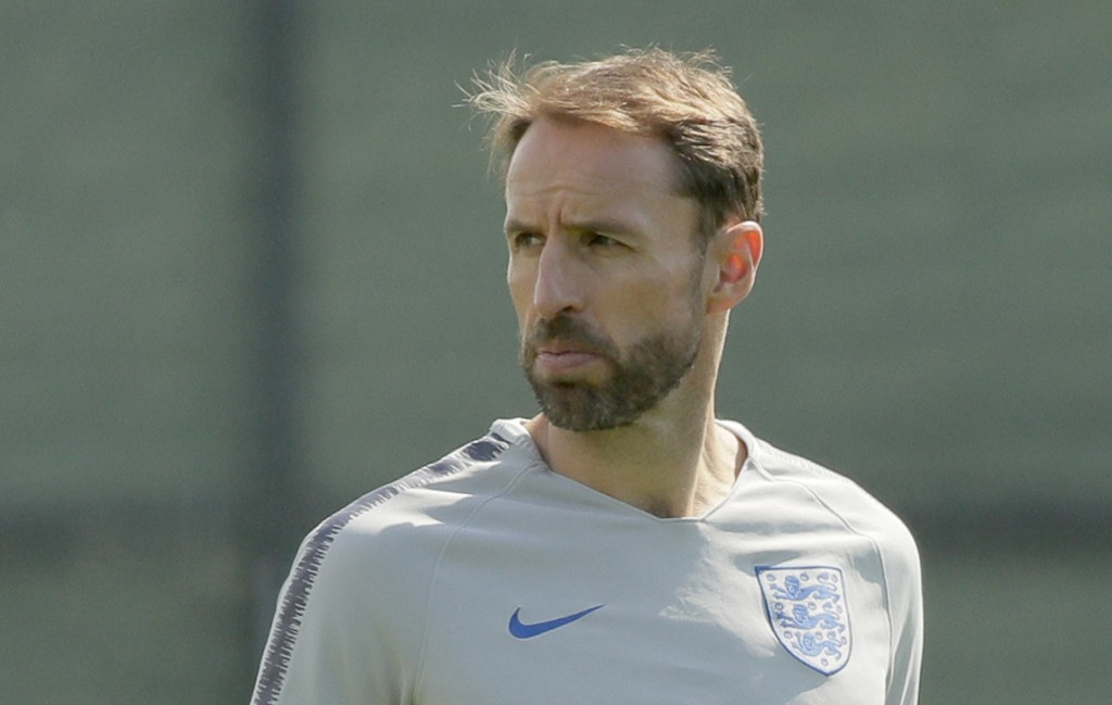 England head coach Gareth Southgate attends an official training of his team in Zelenogorsk near St. Petersburg, Russia, Friday, July 13, 2018, on the