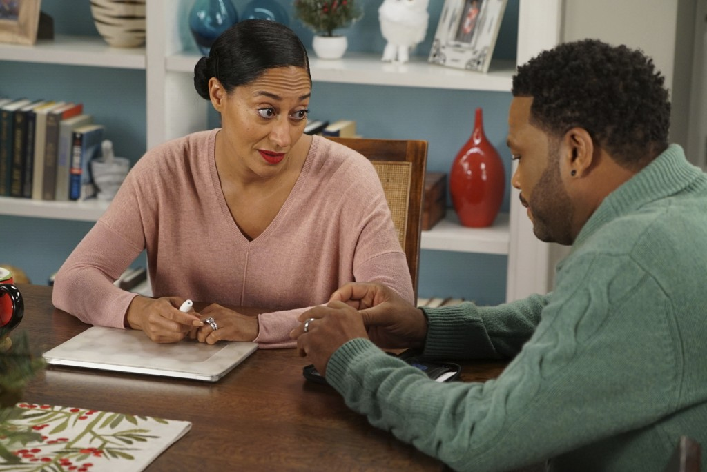 "This image released by ABC shows Tracee Ellis Ross, left, and Anthony Anderson in a scene from ""black-ish."" Ross was nominated Thursday for an Emmy fo"