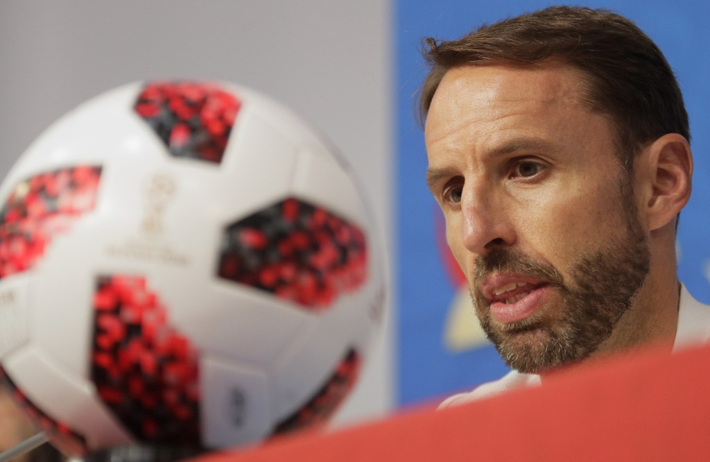 England head coach Gareth Southgate speaks during a news conference in St. Petersburg, Russia, Friday, July 13, 2018, on the eve of the third place ma