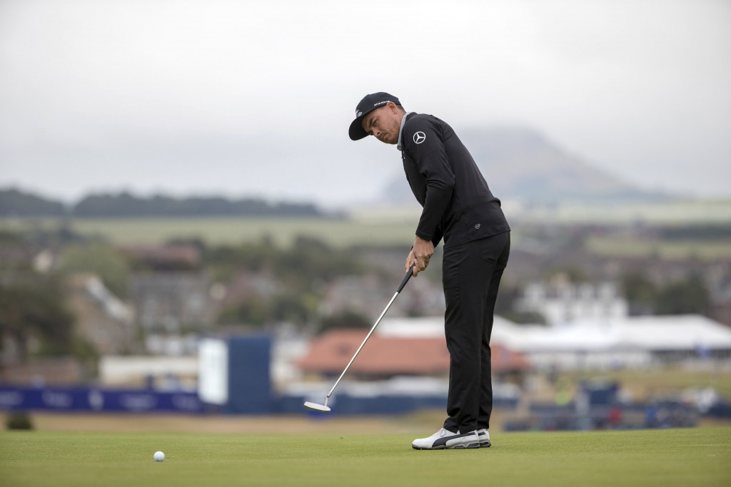 Ricky Fowler putts on day-one of the Scottish Open at Gullane, East Lothian, Scotland, Thursday, July 12, 2018. Fowler shot a 6-under 64 to take the c