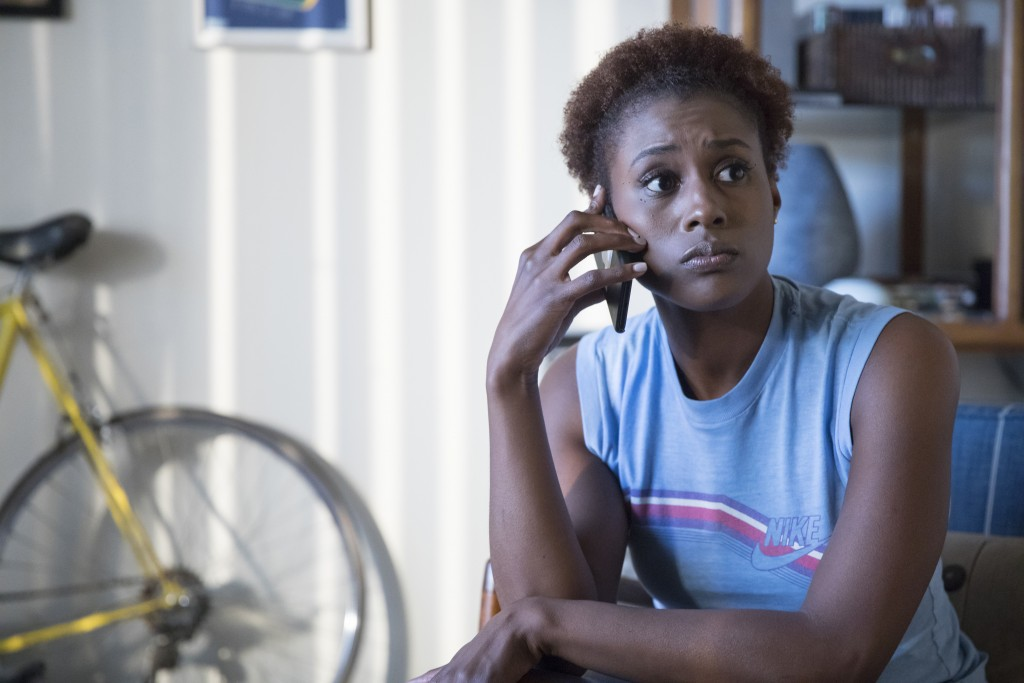"This image released by HBO shows Issa Rae in a scene from ""Insecure."" Rae was nominated Thursday for an Emmy for outstanding lead actress in a comedy"