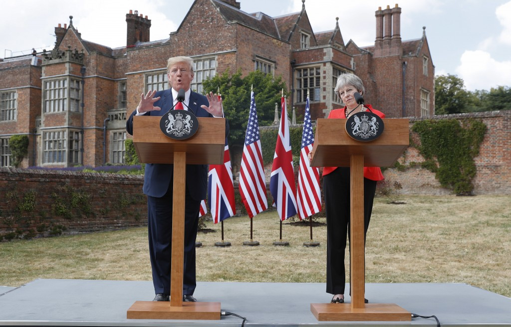 President Donald Trump with British Prime Minister Theresa May during their joint news conference at Chequers, in Buckinghamshire, England, Friday, Ju