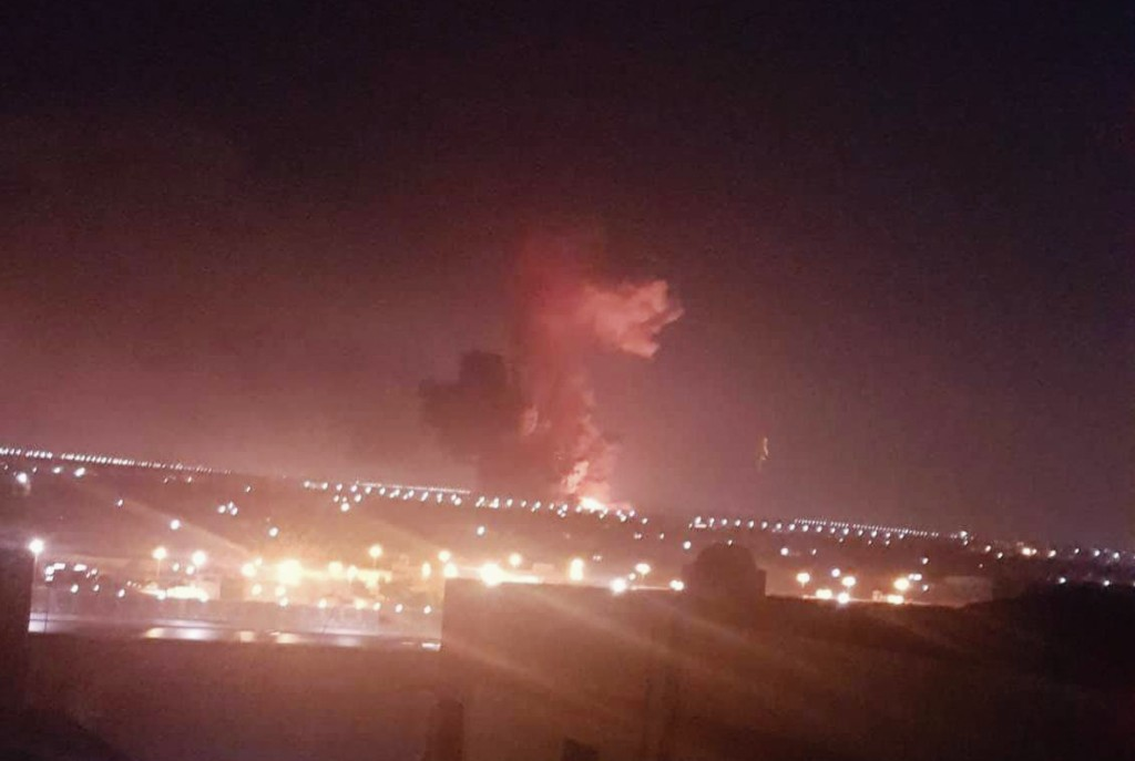 This photo provided by Taher Amer Fathy shows an explosion at a chemicals factory in Cairo on Thursday, July 12, 2018. A military spokesman, Col. Tame