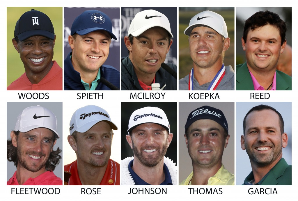 FILE - Top row from left are Tiger Woods, Jordan Spieth, Rory McIlroy, Brooks Koepka and Patrick Reed. Bottom from left are Tommy Fleetwood, Justin Ro