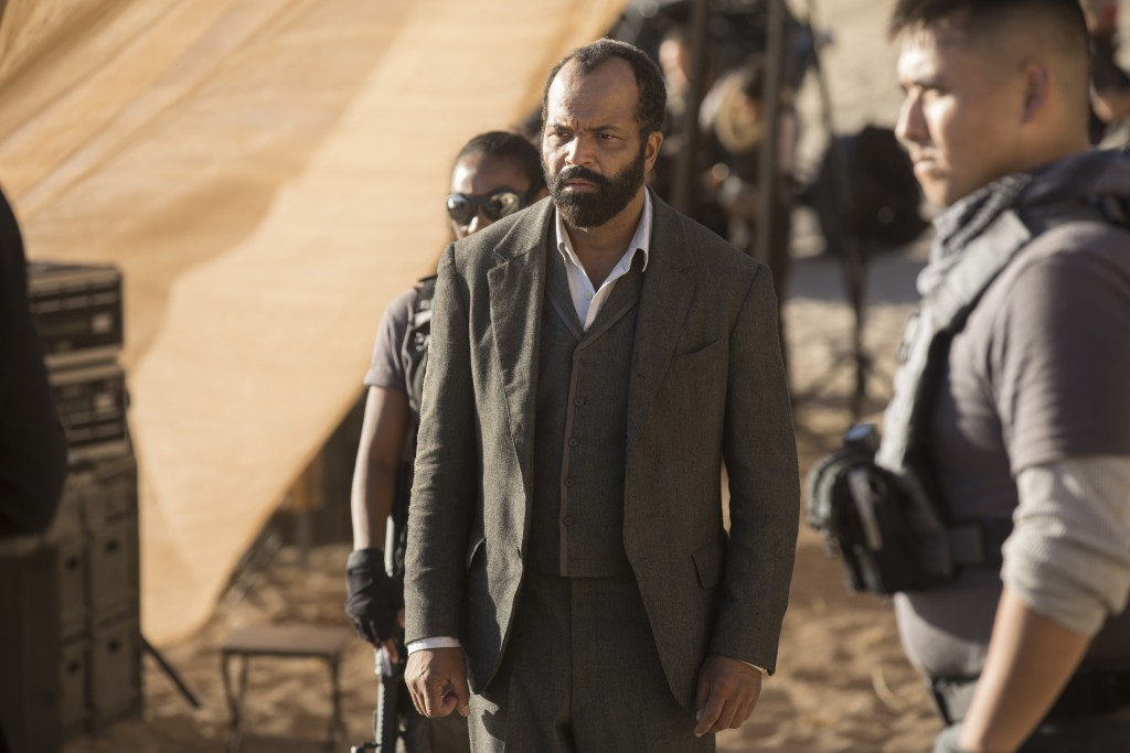 "This image released by HBO shows Jeffrey Wright in a scene from ""Westworld."" The program was nominated for an Emmy on Thursday for outstanding drama s"