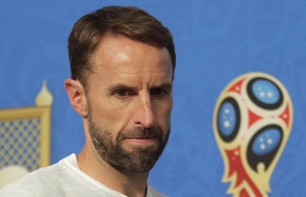 England head coach Gareth Southgate attends a news conference in St. Petersburg, Russia, Friday, July 13, 2018, on the eve of the third place match be