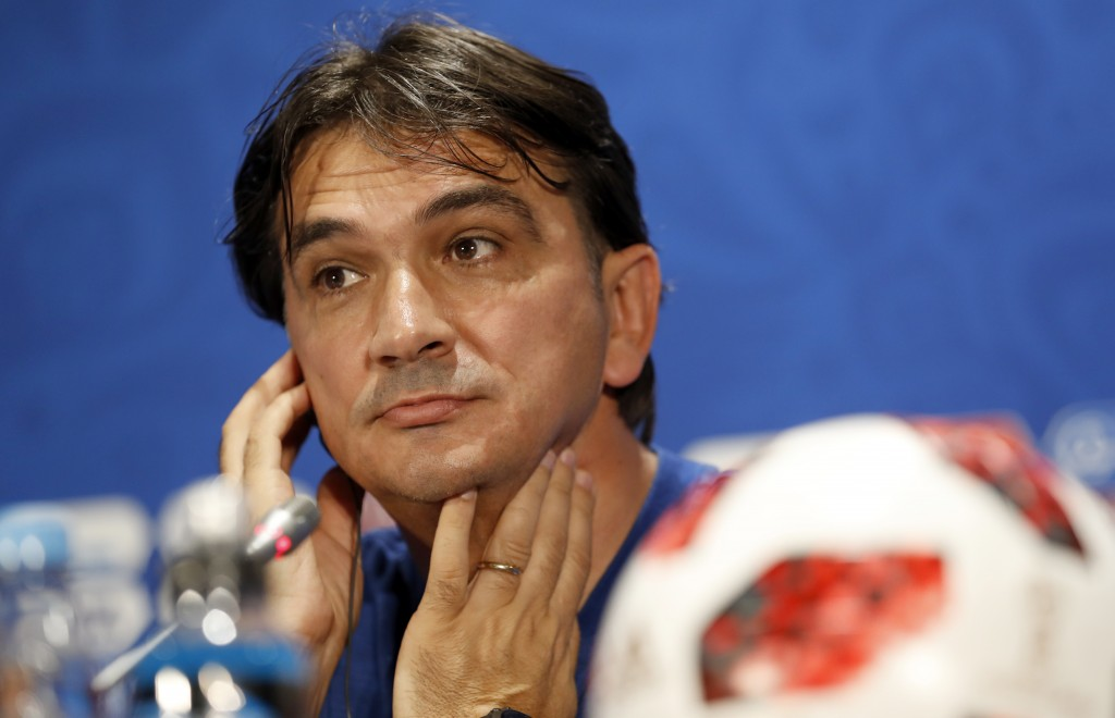 Croatia head coach Zlatko Dalic listens to a question during a news a press conference at the 2018 soccer World Cup in Moscow, Russia, Thursday, July
