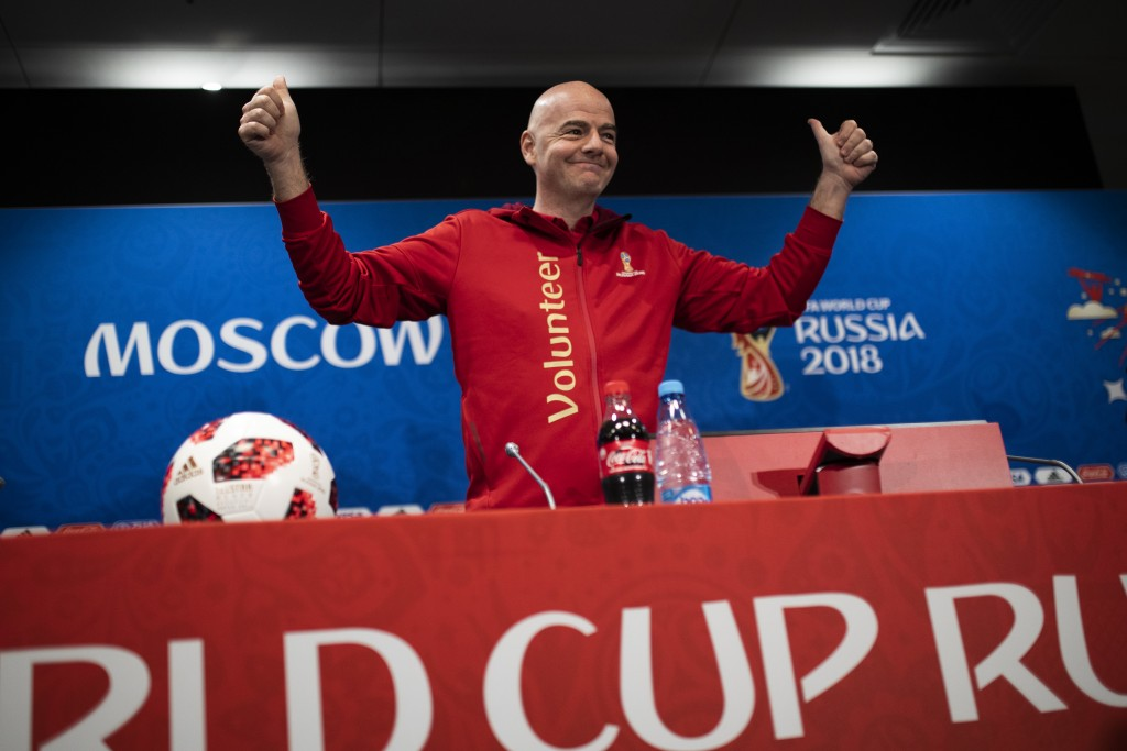 FIFA President Gianni Infantino gestures as he arrives to a news conference during the 2018 soccer World Cup at the Luzhniki stadium in Moscow, Russia