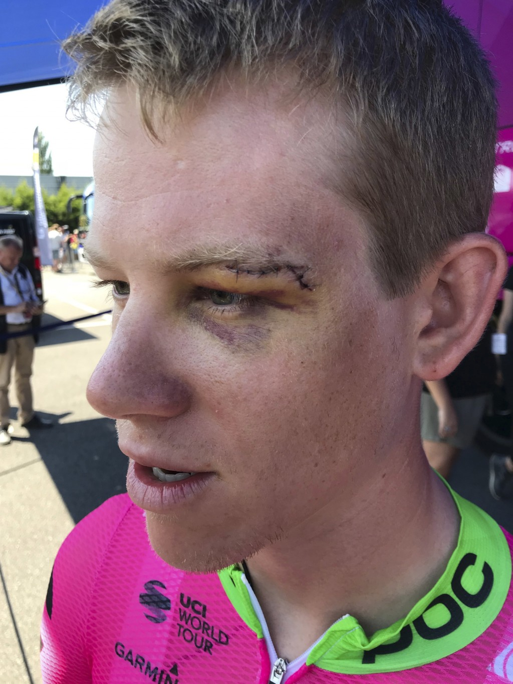 In this July 10, 2018 image, Lawson Craddock of the U.S. talks to reporters in La Baule, France, prior to the start of the fourth stage of the Tour de