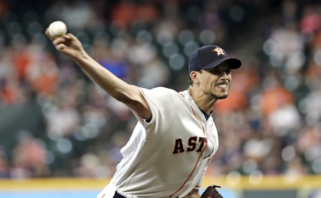 Houston Astros starting pitcher Charlie Morton throws against the Oakland Athletics during the first inning of a baseball game Thursday, July 12, 2018