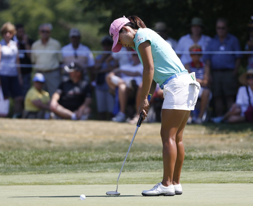In-Kyung Kim putts on the ninth green during the second round of the LPGA Marathon Classic golf tournament Friday, July 13, 2018, at Highland Meadows