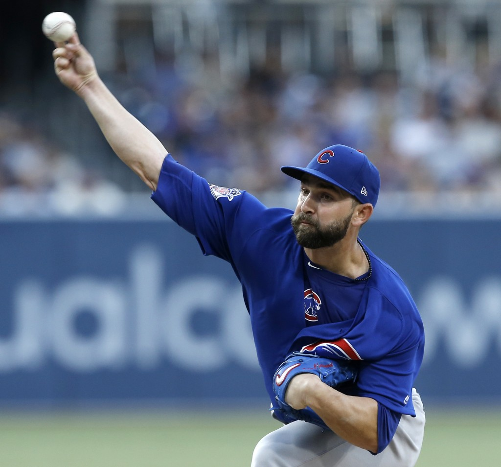 Chicago Cubs starting pitcher Tyler Chatwood delivers to a San Diego Padres batter during the first inning of a baseball game in San Diego, Friday, Ju