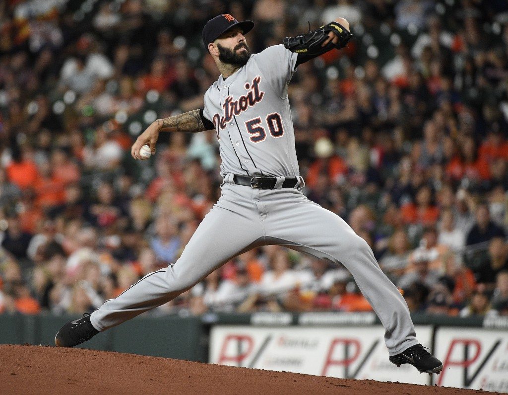 Detroit Tigers starting pitcher Mike Fiers delivers during the first inning of a baseball game against the Houston Astros, Friday, July 13, 2018, in H