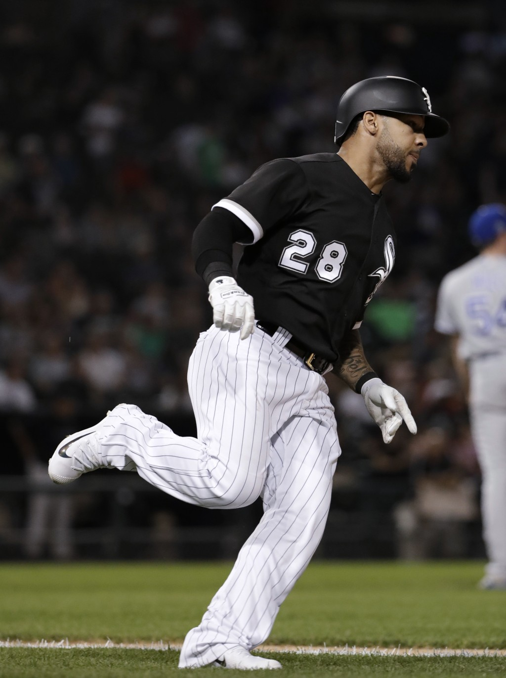 Chicago White Sox's Leury Garcia rounds the bases after hitting a solo home run against the Kansas City Royals during the sixth inning of a baseball g