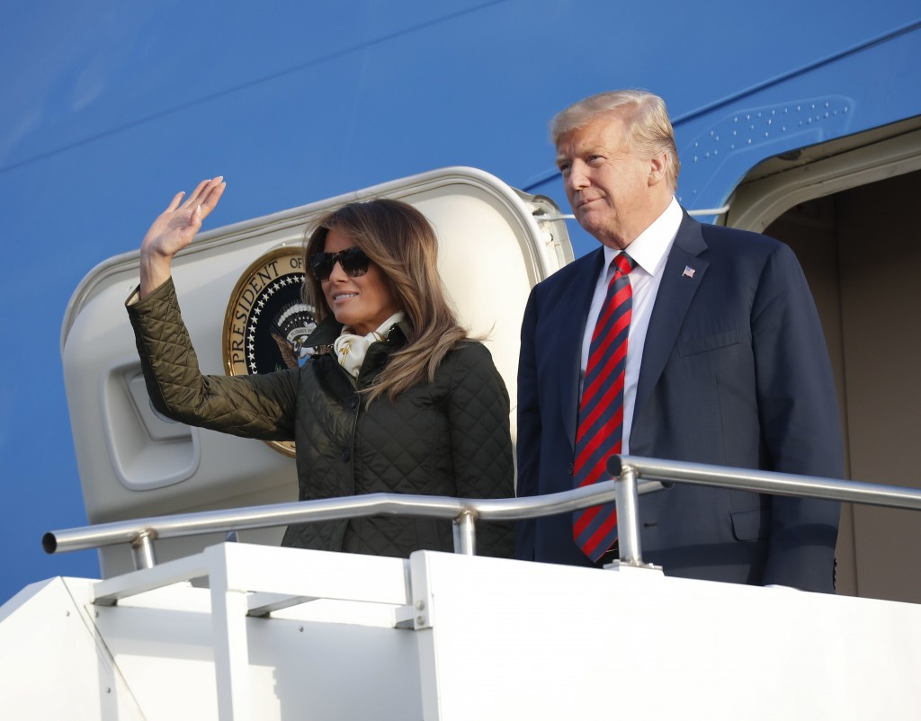 President Donald Trump and first lady Melania Trump during their arrival on Air Force One at Glasgow Prestwick Airport in Scotland, Friday, July 13, 2