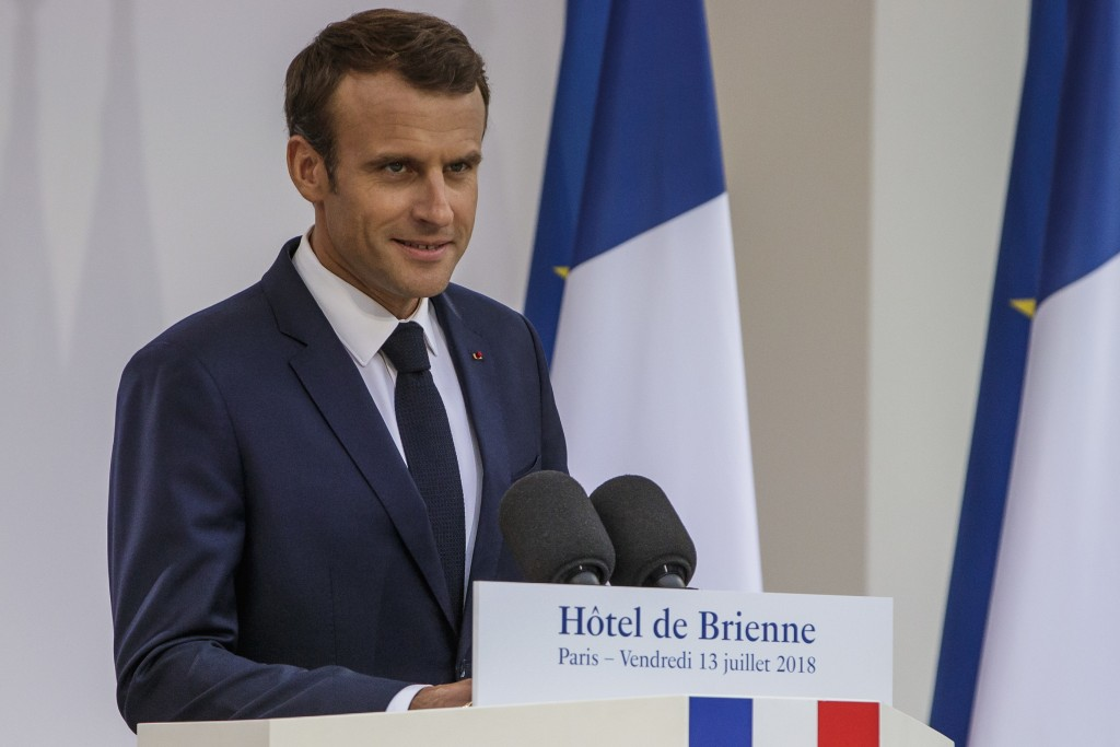 rance's President Emmanuel Macron delivers a speech after signing the armed forces annual law budget, at the Hotel de Brienne, in Paris, France, Frida