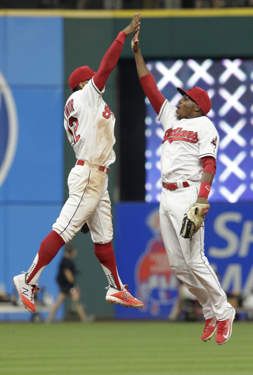 Cleveland Indians' Francisco Lindor, left, and Greg Allen celebrate after the Indians defeated the New York Yankees 6-5 in a baseball game, Friday, Ju