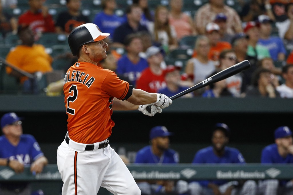 Baltimore Orioles' Danny Valencia watches his sacrifice fly ball in the fifth inning of a baseball game against the Texas Rangers, Friday, July 13, 20