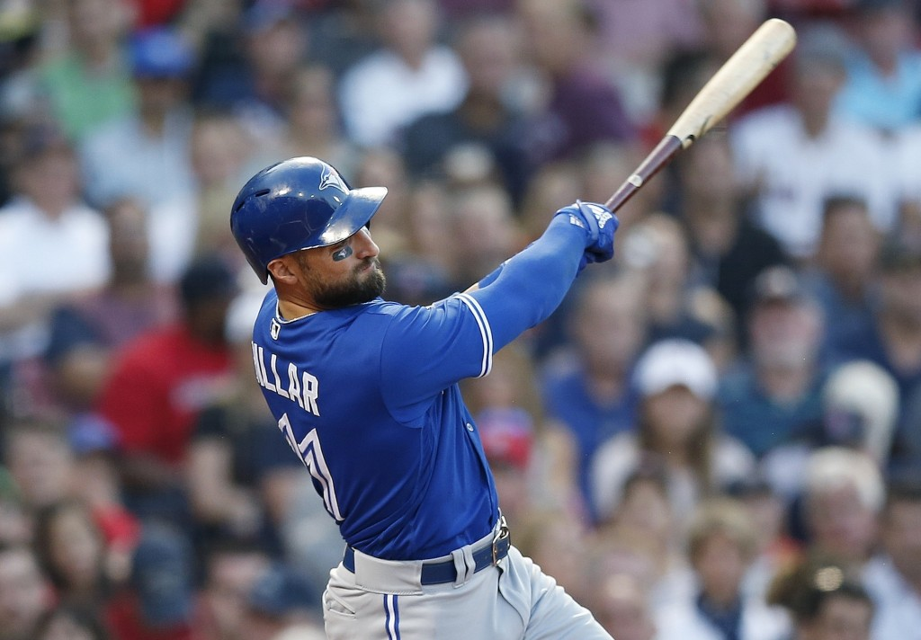 Toronto Blue Jays' Kevin Pillar follows through on an RBI-double during the second inning of a baseball game against the Boston Red Sox in Boston, Fri