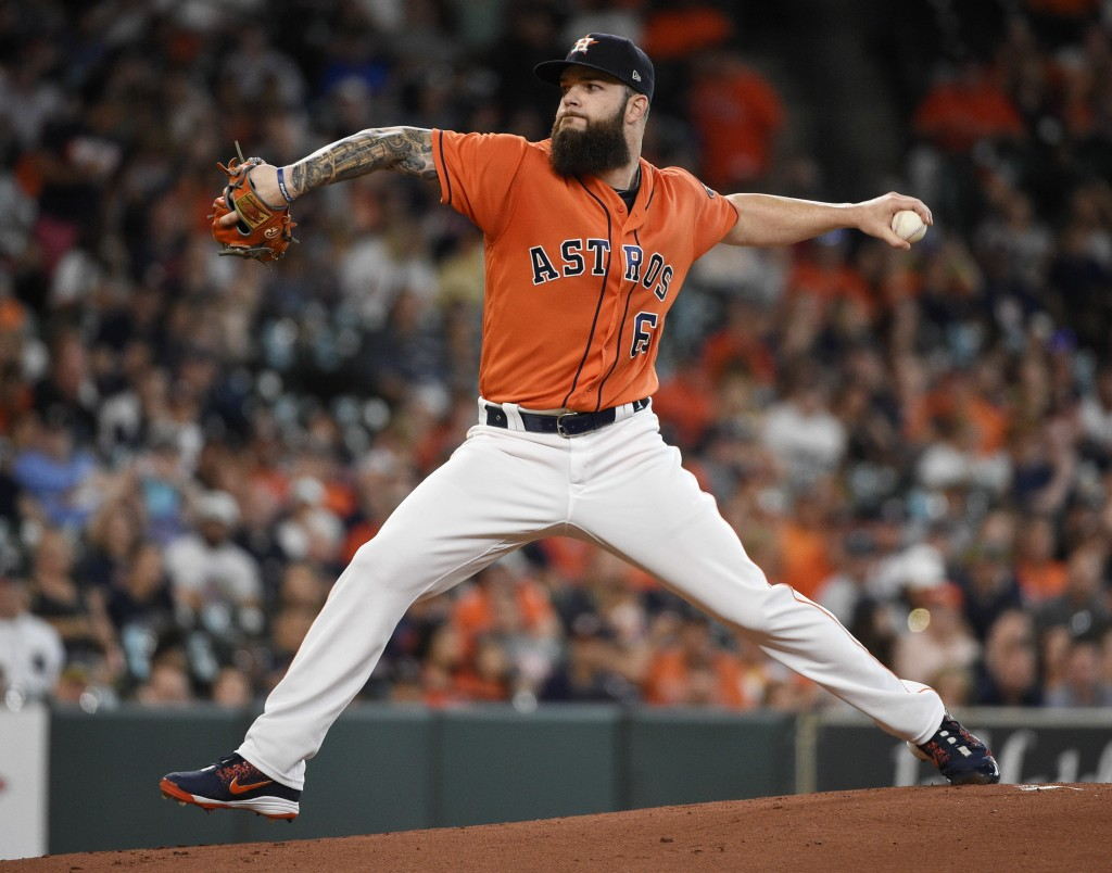 Houston Astros starting pitcher Dallas Keuchel delivers during the first inning of a baseball game against the Detroit Tigers, Friday, July 13, 2018,