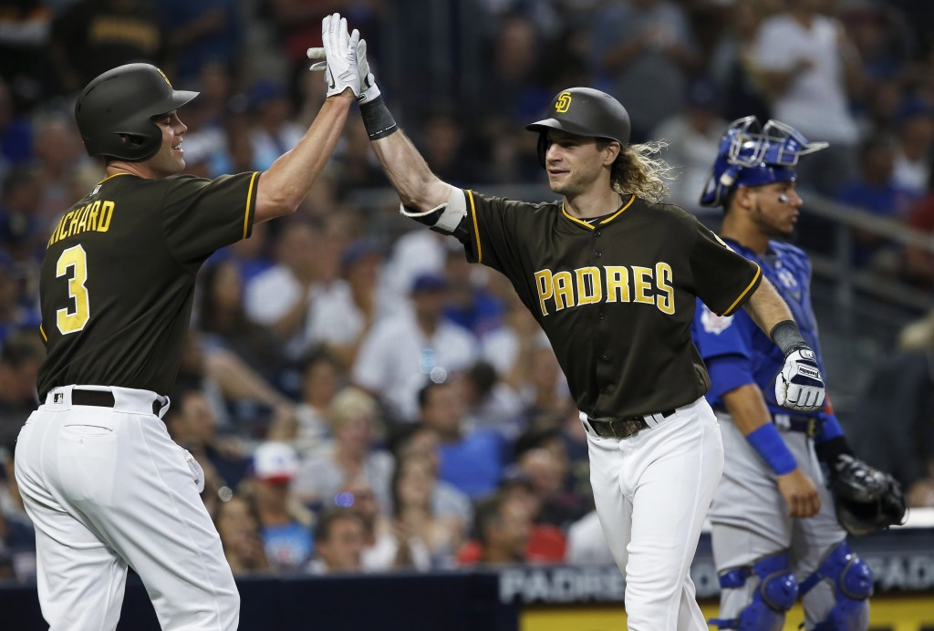San Diego Padres' Travis Jankowskii, right, gets congratulations from Clayton Richard after hitting a two-run home run, near Chicago Cubs catcher Will