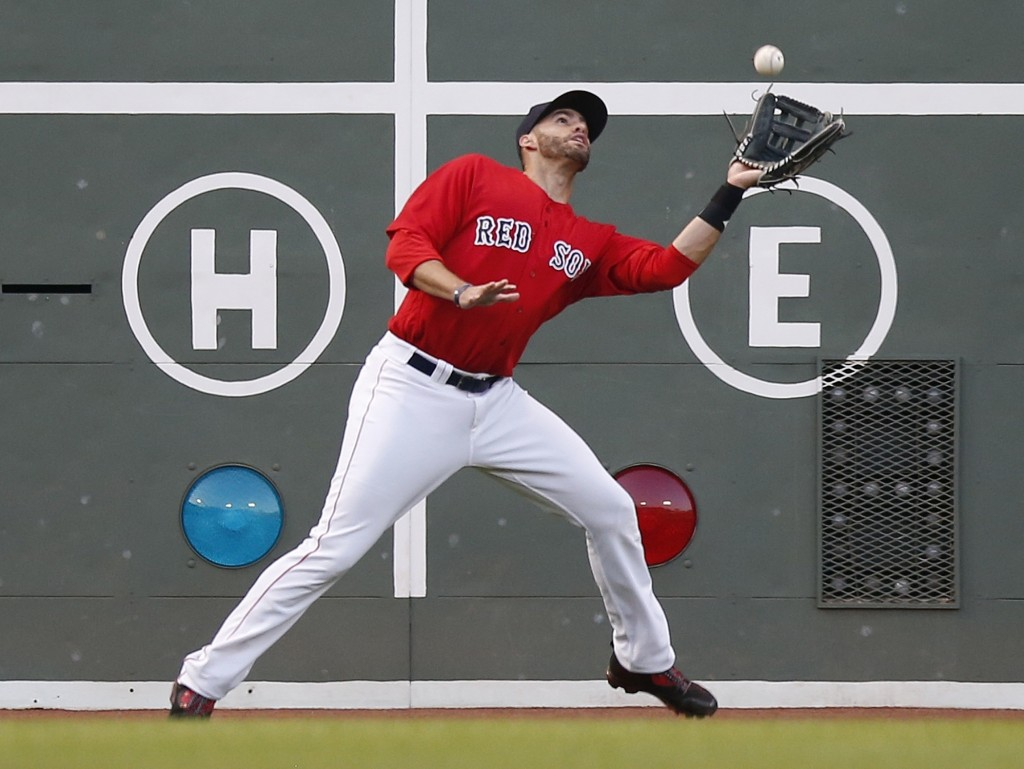 Boston Red Sox's J.D. Martinez makes the catch on a sacrifice fly from Dwight Smith Jr. during the second inning of a baseball game in Boston, Friday,