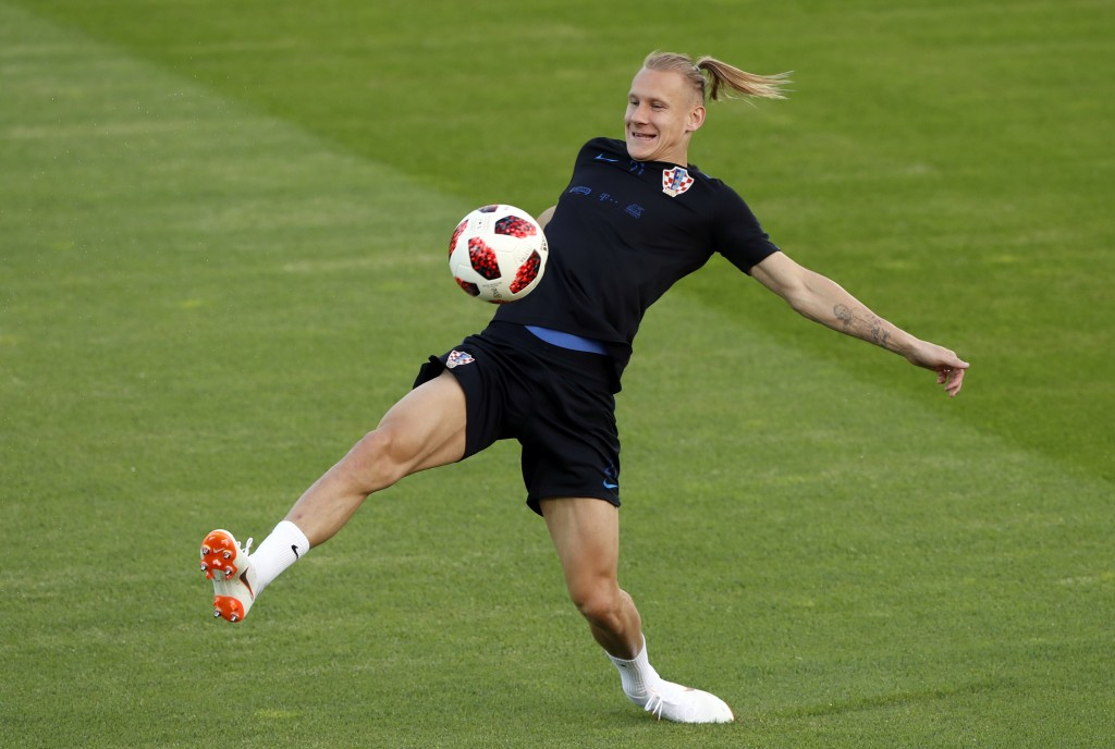 Croatia's Domagoj Vida kicks the ball during a training session of Croatian national team at the 2018 soccer World Cup in Moscow, Russia, Friday, July