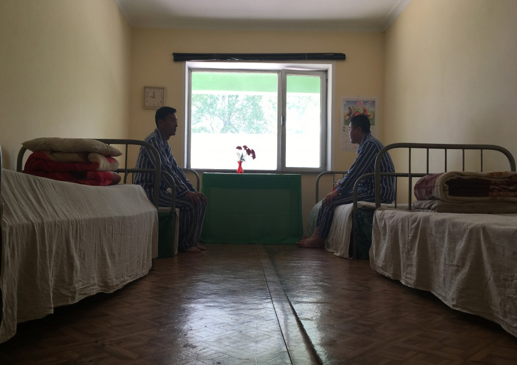 In this May 7, 2018, photo, patients are seen in their room at the National Tuberculosis Reference Laboratory in Pyongyang, North Korea. Despite a moo