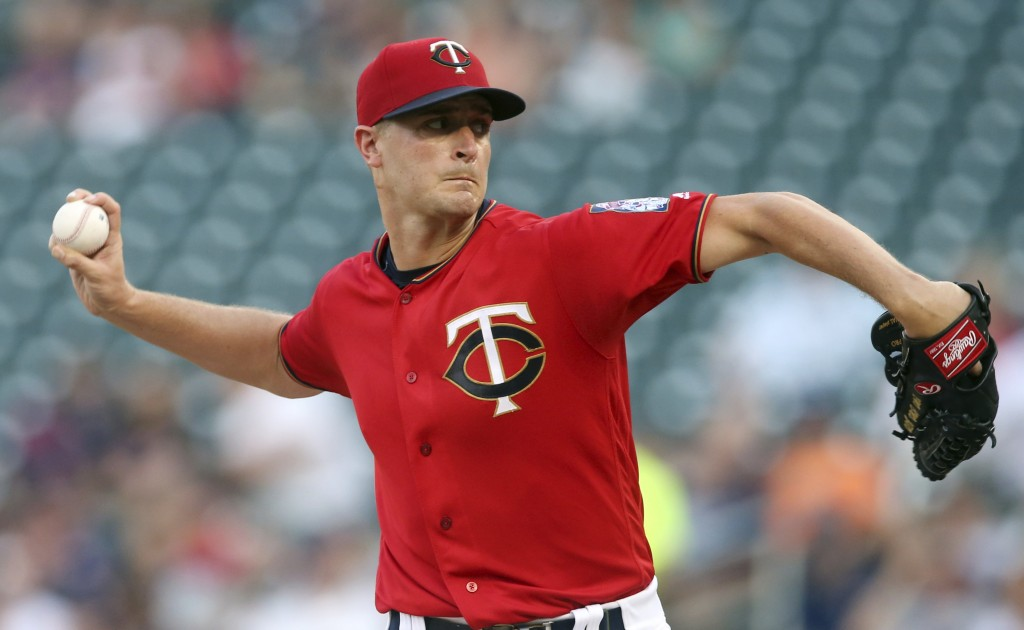 Minnesota Twins pitcher Jake Odorizzi throws to a Tampa Bay Rays batter during the first inning of a baseball game Friday, July 13, 2018, in Minneapol