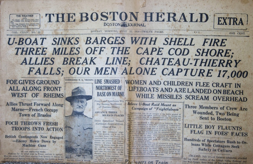This image shows the front page of the Monday, July 22, 1918, edition of The Boston Herald, from the Walter Howard Mayo III collection, headlining a r