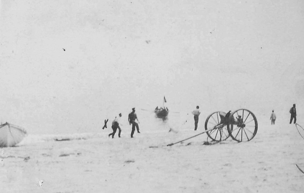 In this photo provided by the Orleans Historical Society, a crew prepares to receive survivors of a German World War I submarine attack on Orleans, Ma