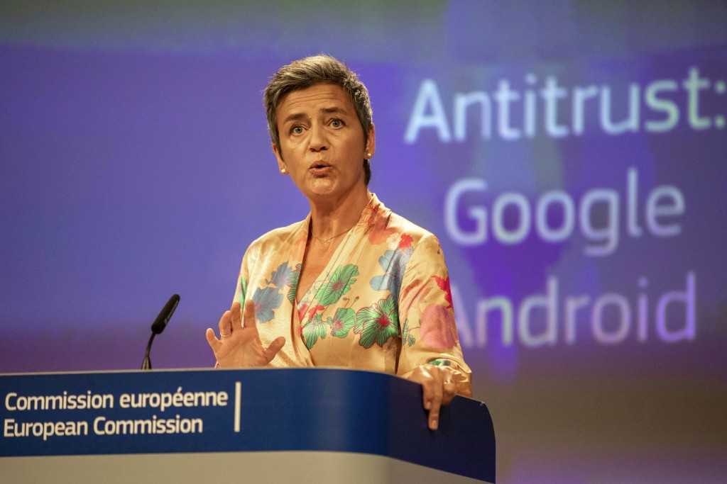 EU Commissioner Margrethe Vestager holds a press conference on a Competition Case involving Google Android at the European Commission building, in Bru