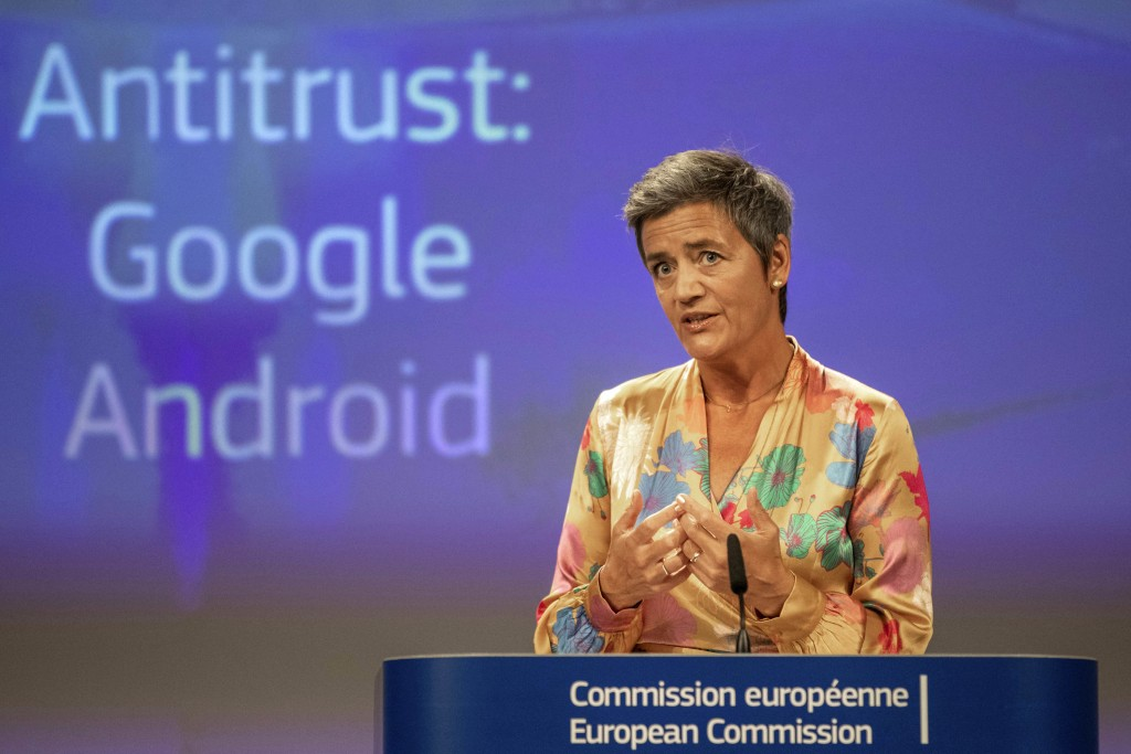 EU Commissioner Margrethe Vestager holds a press conference on a Competition Case involving Google Android at the European Commission building, in Bru...