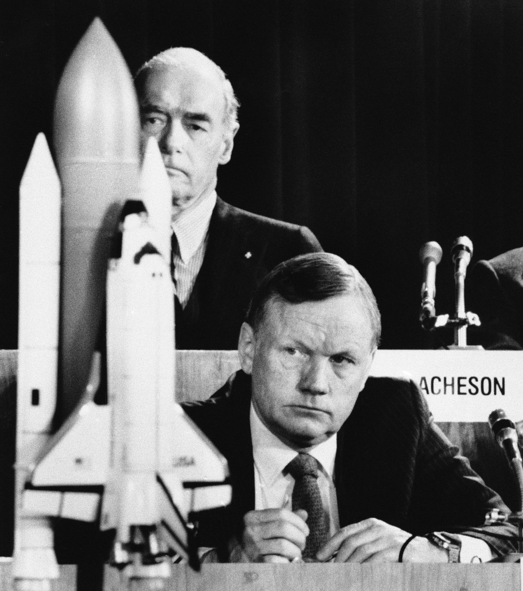 FILE - In this Feb. 11, 1986 file photo, former astronaut Neil Armstrong, a member of the presidential panel investigating the Space Shuttle Challenge...
