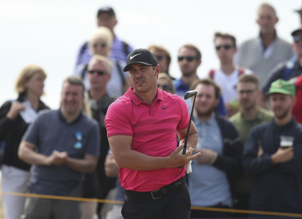 Brooks Koepka of the US watches his hshot from the 5th tee during the third round of the British Open Golf Championship in Carnoustie Scotland Satur
