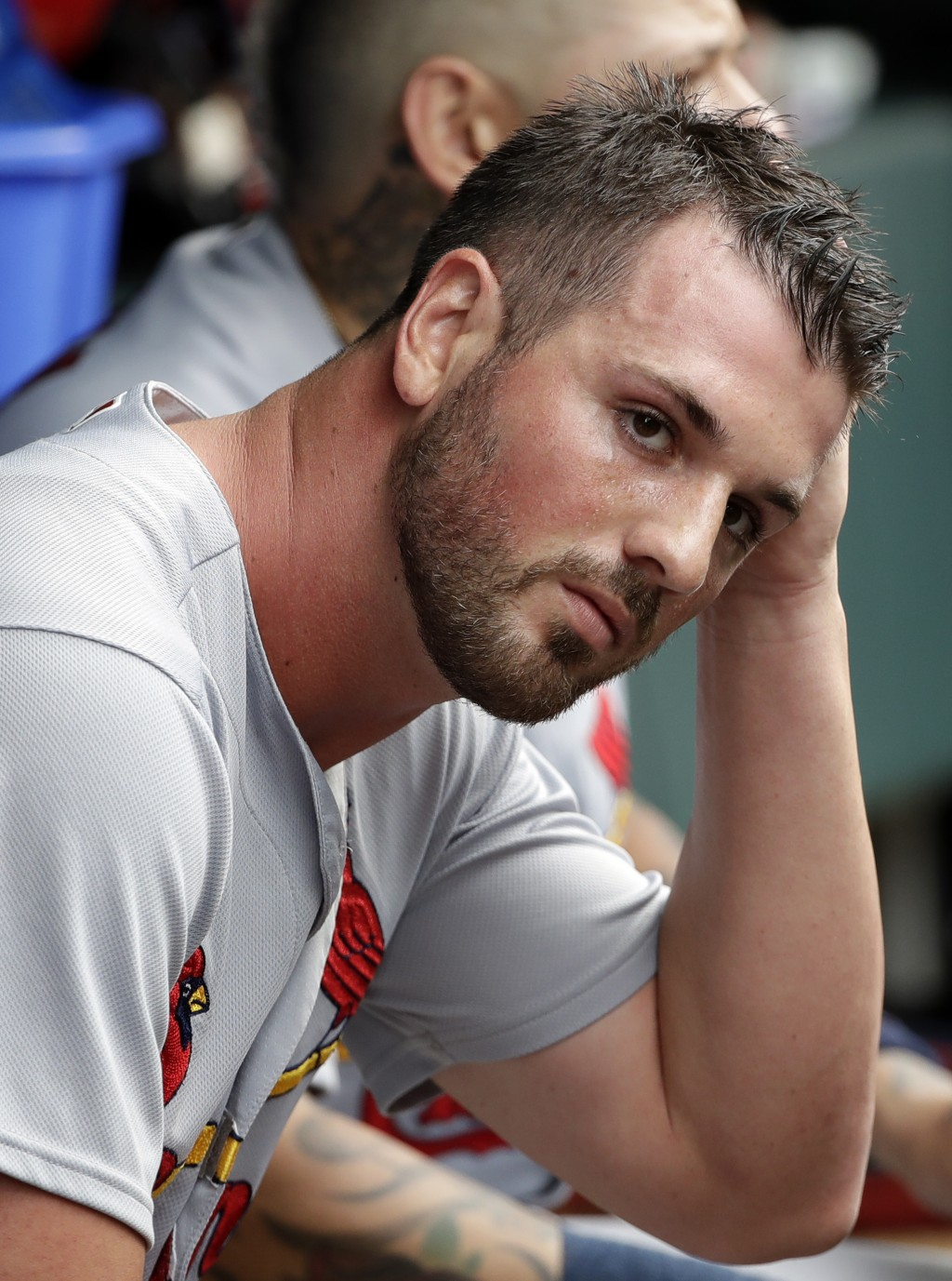 St. Louis Cardinals relief pitcher Mike Meyers sits in the dugout during the seventh inning of a baseball game against the Chicago Cubs, Sunday, July ...