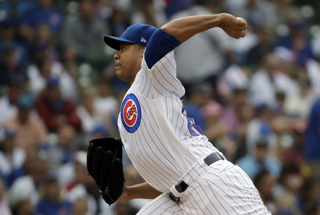 Chicago Cubs starting pitcher Jose Quintana throws against the St. Louis Cardinals during the first inning of a baseball game Sunday, July 22, 2018, i...