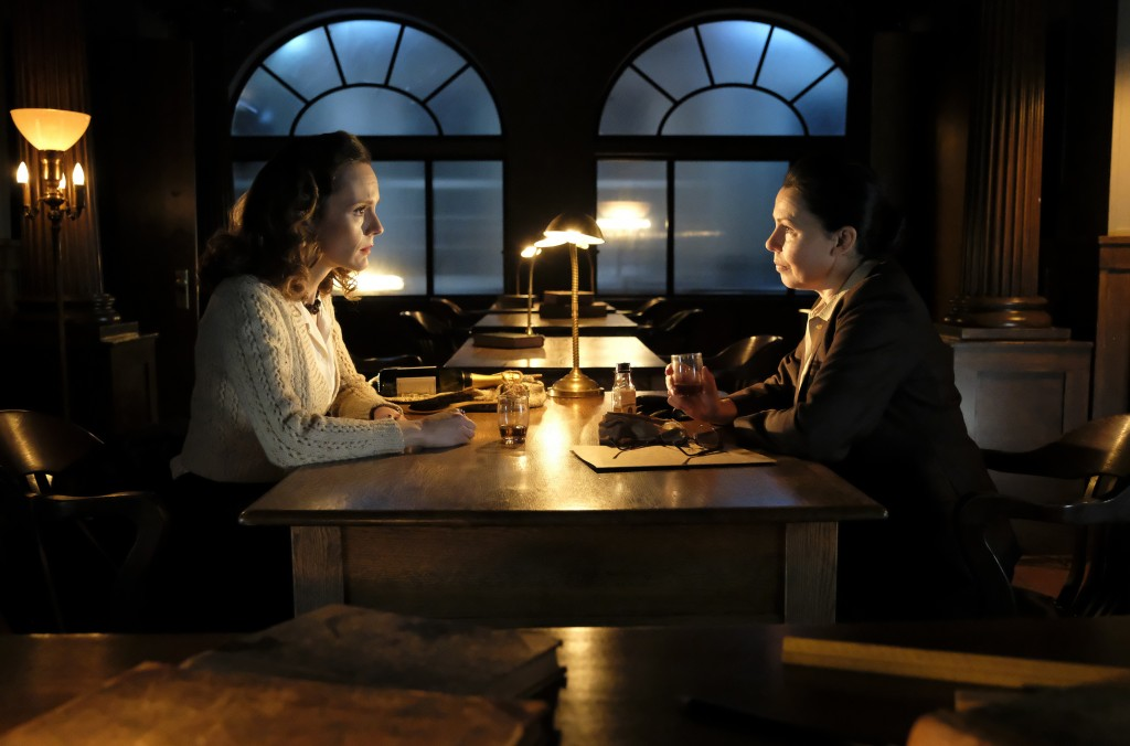 """This image released by BritBox shows Rachael Stirling, left, and Julie Graham from the series """"The Bletchley Circle: San Francisco."""" Stirling is repri..."""