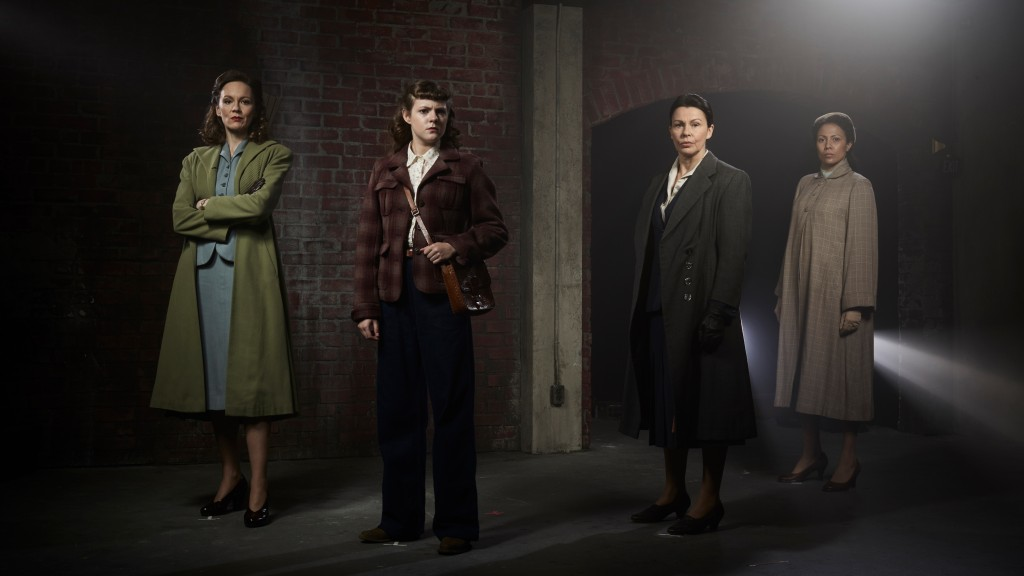 """This image released by BritBox shows, from left, Rachael Stirling, Chanelle Peloso, Julie Graham and Crystal Balint from the series """"The Bletchley Cir..."""