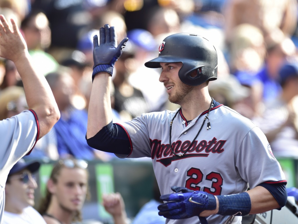 Minnesota Twins' Mitch Garver (23) celebrates his home run against the Toronto Blue Jays during the sixth inning of a baseball game Wednesday, July 25...