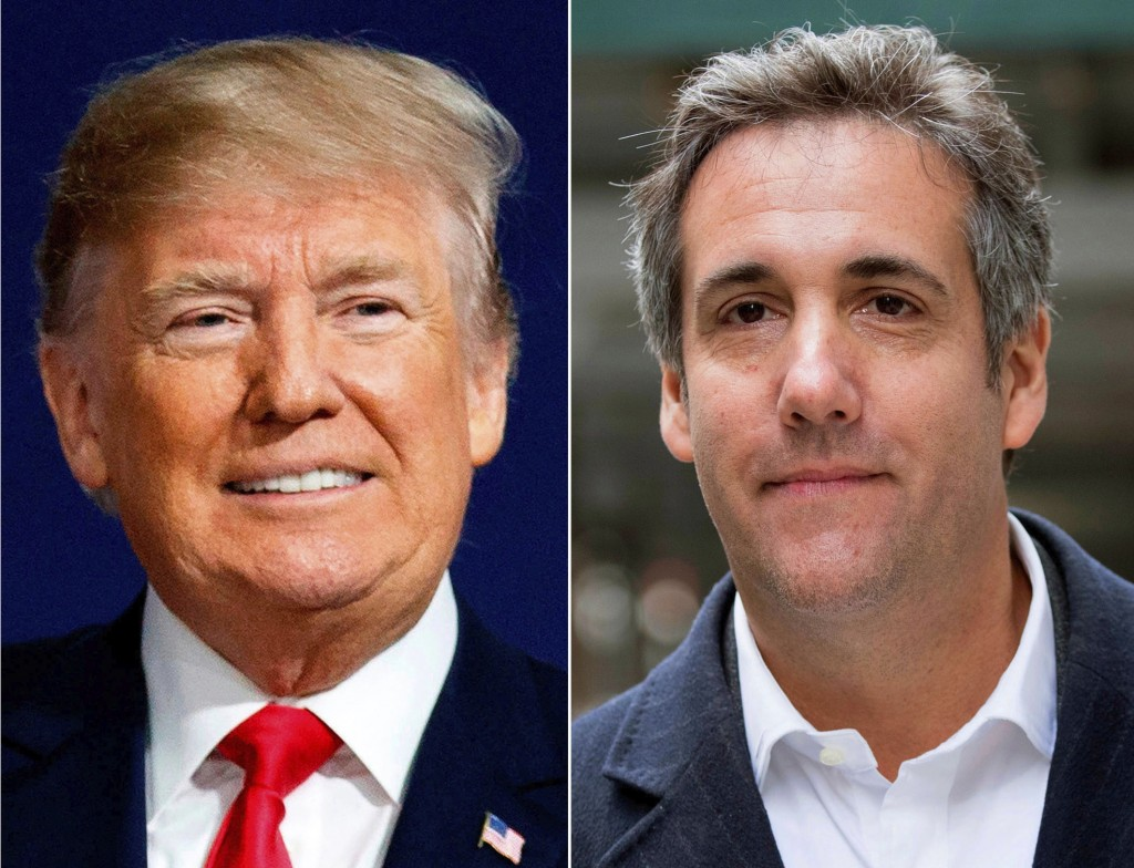 This combination photo shows President Donald Trump and attorney Michael Cohen. The audio recording of Trump and his then-lawyer, Cohen, captures the ...