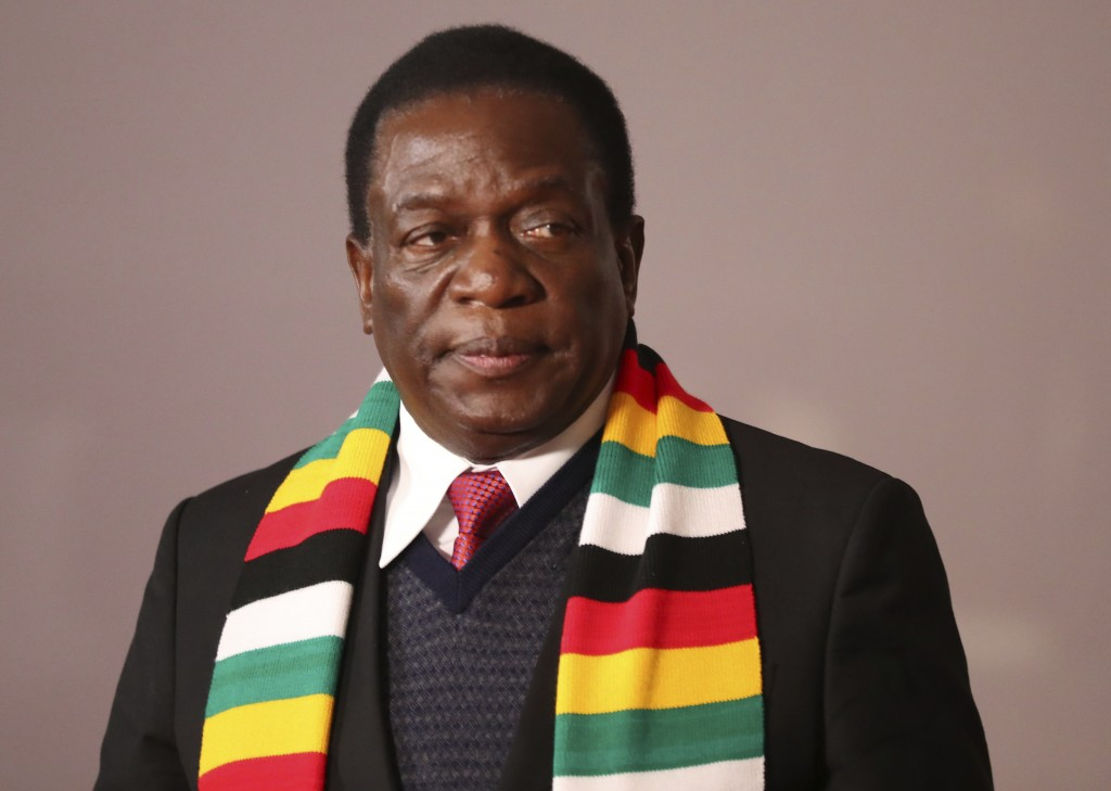 Zimbabwe's President Emmerson Mnangagwa attends the BRICS Summit in Johannesburg South Africa Friday
